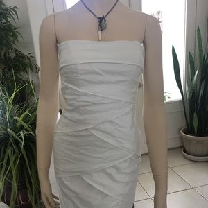 Strapless white dress by Nicole Miller